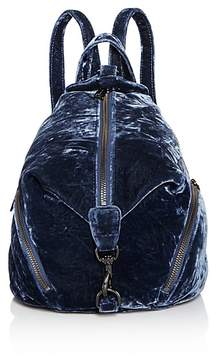 Rebecca Minkoff Julian Medium Crushed Velvet Backpack - BLUE/GUNMETAL - STYLE