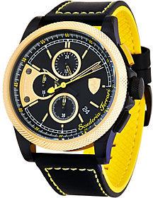 Ferrari Men's Leather Strap Goldtone Formula Italias Watch