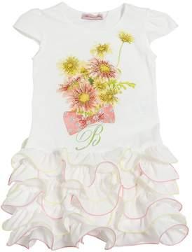 Miss Blumarine Ruffled Cotton Jersey & Crepe Dress