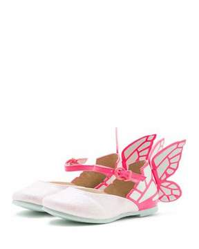 Sophia Webster Chiara Leather-Trim Butterfly Mary Jane Flat, Toddler