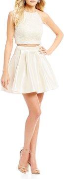 B. Darlin Two-Piece Foil Lace Top Party Dress