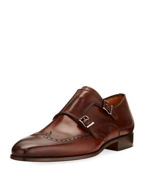 Magnanni Hand Antiqued Leather Oxford, Brown