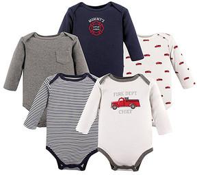 Hudson Baby Gray & White Fire Truck Long-Sleeve Bodysuits - Set of Five