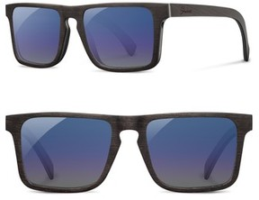 Shwood Men's Govy 2 53Mm Polarized Wood Sunglasses - Dark Walnut/ Blue