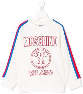 Moschino Kids stripe detail logo sweatshirt