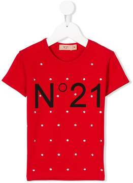 No.21 Kids crystal-embellished logo T-shirt