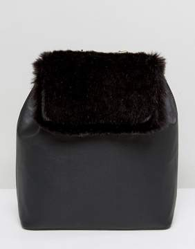 French Connection Backpack With Faux Fur Panel