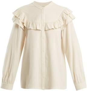 Masscob Frill-trimmed raw-silk blouse