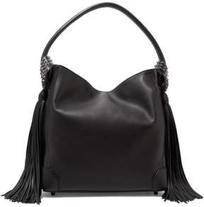 Christian Louboutin - Eloise Spiked Tasseled Textured-leather Shoulder Bag - Black