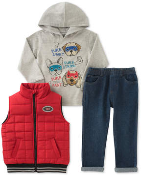 Kids Headquarters 3-Pc. Vest, Dogs Hoodie & Jeans Set, Baby Boys (0-24 months)