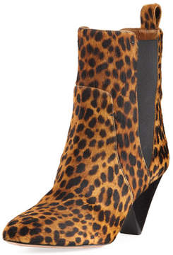 Veronica Beard Landon Leopard-Print Calf Hair Ankle Boot