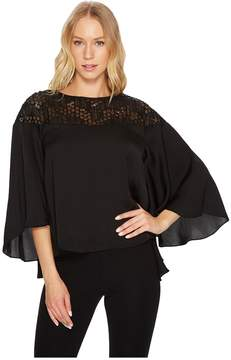 Catherine Malandrino 3/4 Flared Sleeve Scoop Neck Top w/ Lace Yoke Women's Long Sleeve Pullover