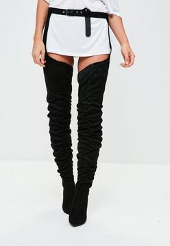 Missguided Black Faux Suede Harness Over The Knee Boots