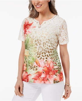 Alfred Dunner Parrot Cay Printed Lace-Front Top