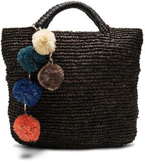 Kayu Belle Woven Tote With Pom Poms In Black