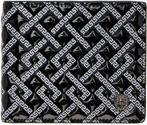 Versace Black Patent Greek Key Wallet