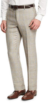 Zanella Windowpane Linen-Wool Flat-Front Trousers, Brown/Ivory/Blue