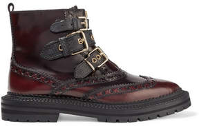 Burberry Everdon Buckled Ombré Leather Ankle Boots - Merlot