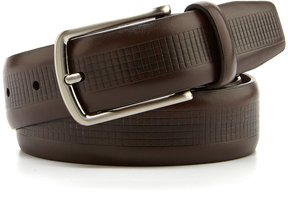 Roundtree & Yorke Checker-Embossed Leather Belt