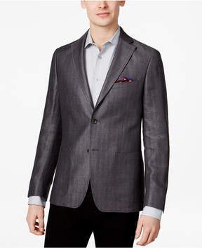 DKNY Men's Slim-Fit Charcoal Herringbone Stripe Sport Coat