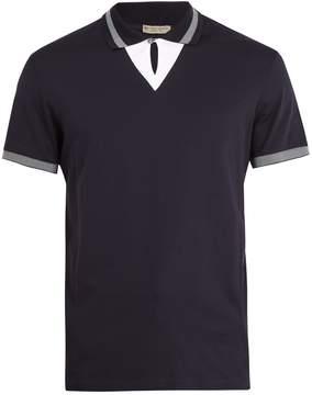 Bottega Veneta Contrast-collar cotton-piqué polo shirt