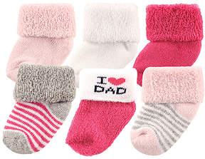 Luvable Friends White & Fuchsia 'I Heart Dad' Six-Pair Socks Set - Infant