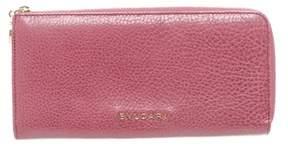 Bvlgari Pink Leather Zippy Long Wallet.