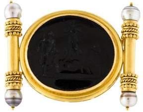 Elizabeth Locke Venetian Pearl & Glass Intaglio Brooch