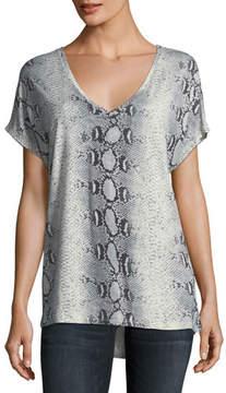Neiman Marcus Majestic Paris for V-Neck Short-Sleeve Python-Printed Silk Tee
