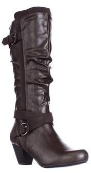 Rialto Crystal Knee High Slouch Boots, Brown.