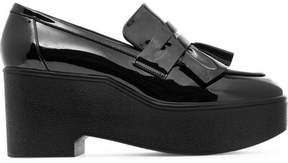 Robert Clergerie Ruffled Patent-leather Platform Loafers - Black
