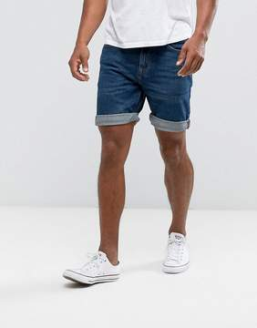 Pull&Bear Regular Fit Denim Shorts In Blue