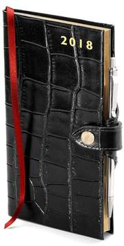 Aspinal of London Slim Pocket Leather Diary With Pen In Deep Shine Black Croc