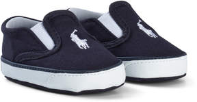 Ralph Lauren Navy Canvas Crib Shoes with Navy Pony