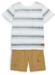 7 For All Mankind Little Boy's Heathered Henley Tee and Cargo Shorts Set