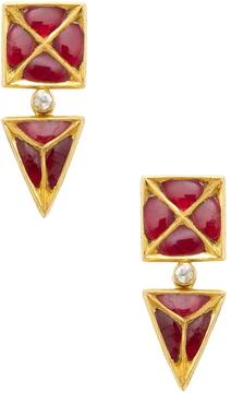 Amrapali Women's 22K Yellow Gold, Ruby & 0.10 Total Ct. Diamond Geometric Drop Earrings