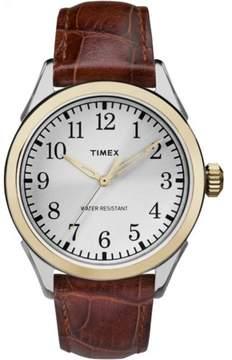Timex Men's Briarwood Watch, Brown Croco Pattern Leather Strap
