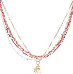 Carole Watermelon & Goldtone Woven Multi-strand Pendant Necklace