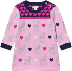 Hatley Pink Deer and Heart Design Knit Dress
