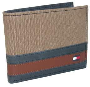 Tommy Hilfiger Men's Leather Exeter Passcase Billfold Wallet, Khaki