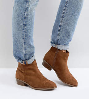 New Look Wide Fit Tan Suedette Boot