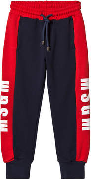 MSGM Navy and Red Logo Sweatpants