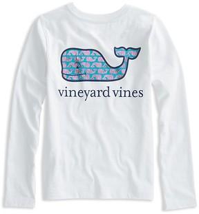 Vineyard Vines Girls' Long-Sleeve Sketched-Whale-Logo Tee - Little Kid