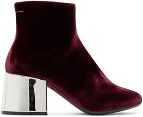 MM6 MAISON MARGIELA Burgundy Velvet Cube Heel Boots