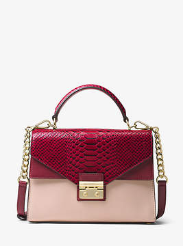 Michael Kors Sloan Color-Block Leather Satchel - PINK - STYLE