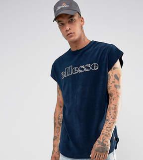 Ellesse Towelling T-Shirt In Navy