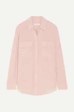 Equipment Slim Signature Washed-silk Shirt - Blush