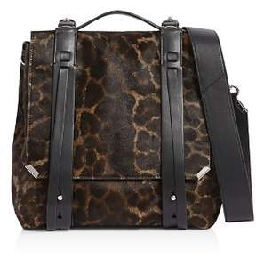 AllSaints Vincent Medium Leopard-Print Calf Hair Backpack