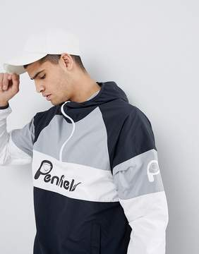 Penfield Block Overhead Hooded Jacket Front Logo in Black/White/Gray