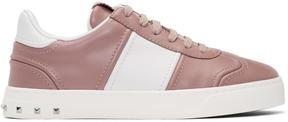 Valentino Pink and White Garavani Flycrew Rockstud Sneakers